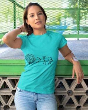 Akal badi Ki Bhains Pure Cotton Tshirt For Women Blue