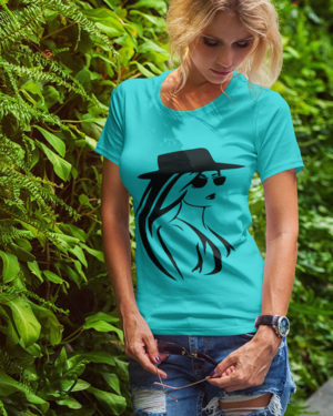 Animated Girl With Hat Pure Cotton Tshirt for Women Sky Blue