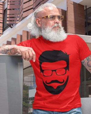 Beardo Boy With Specs Pure Cotton Tshirt for Men Red