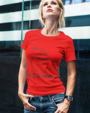 Boomm Animated Pure Cotton Tshirt for Women Red