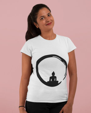 Buddha in the Circle Pure Cotton Religious Tshirt For Women White