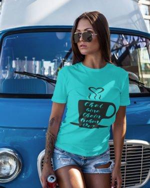 Chai Bina Chain Kahan Re Pure Cotton Tshirt for Women Sky Blue
