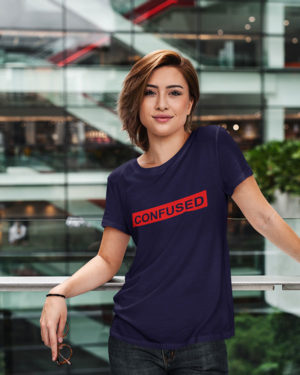 Confused Pure Cotton Tshirt for Women Dark Blue