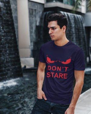 Don't Stare Pure Cotton Tshirt for Men Dark Blue