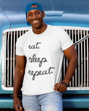 Eat Sleep Repeat Pure Cotton Tshirt for Men White