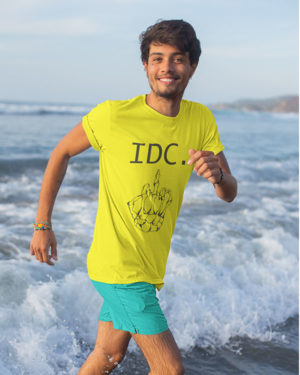I Don't Care Pure Cotton Tshirt for Men Yellow