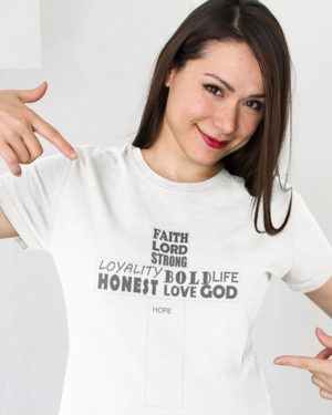 Jesus Symbol with Good Characters Pure Cotton Religious Tshirt For Women White