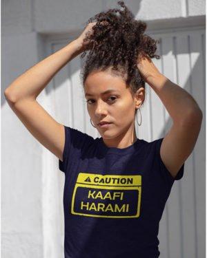 Kaafi Harami Pure Cotton Tshirt for Women Dark Blue