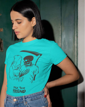 Only True Friend Animated Pure Cotton Tshirt for Women Sky Blue