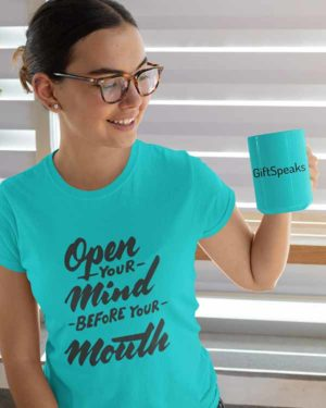 Open your Mind Before Your Mouth Pure Cotton Tshirt For Women Blue