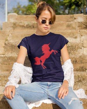 Red Unicorn Animated Pure Cotton Tshirt for Women Dark Blue