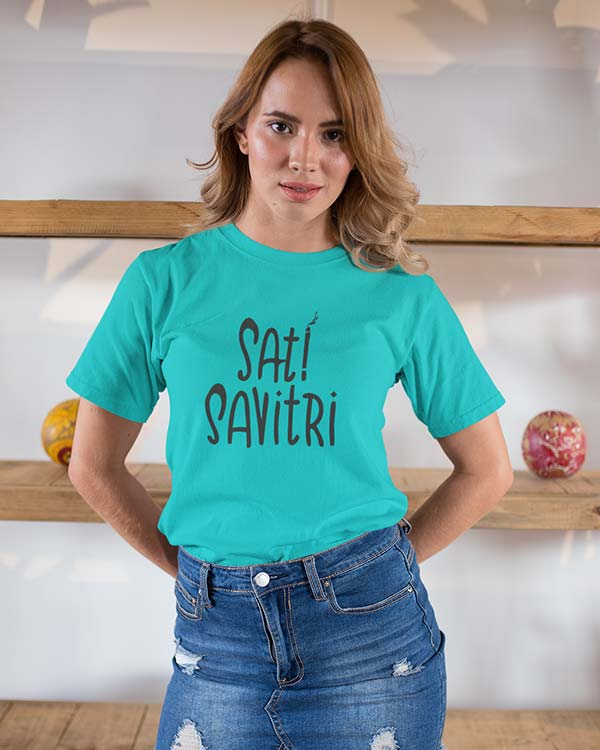 Sati Savitri Pure Cotton Tshirt For Women Blue