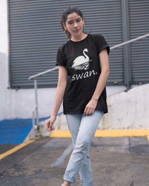 Swan Animated Black Pure Cotton Tshirt For Women