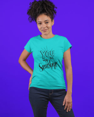you Are My Sunshine Pure Cotton Tshirt for Women Sky Blue